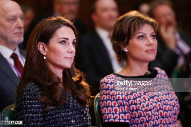 Catherine Duchess of Cambridge and Kate Silverton attend a 'Mental Health In Education' conference at Mercers' Hall on February 13 2019 in London...