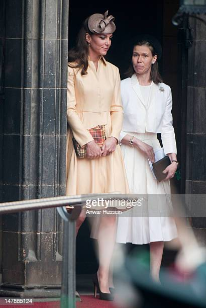 Catherine, Duchess of Cambridge and Lady Sarah Chatto attend the Thistle Service for the installation of Prince William as a Kinight of the Thistle...