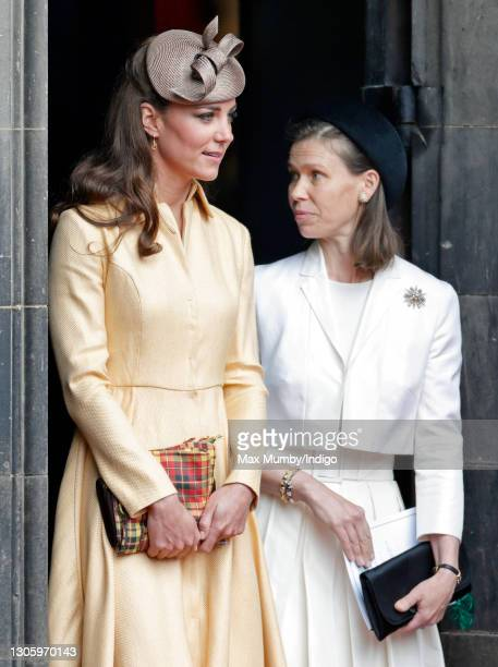 Catherine, Duchess of Cambridge and Lady Sarah Chatto attend the biennial Order of the Thistle Service at The Thistle Chapel in St Giles' Cathedral...