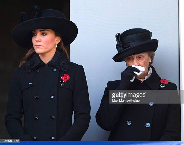 Catherine Duchess of Cambridge and Lady Susan Hussey attend the annual Remembrance Sunday Service at the Cenotaph Whitehall on November 11 2012 in...