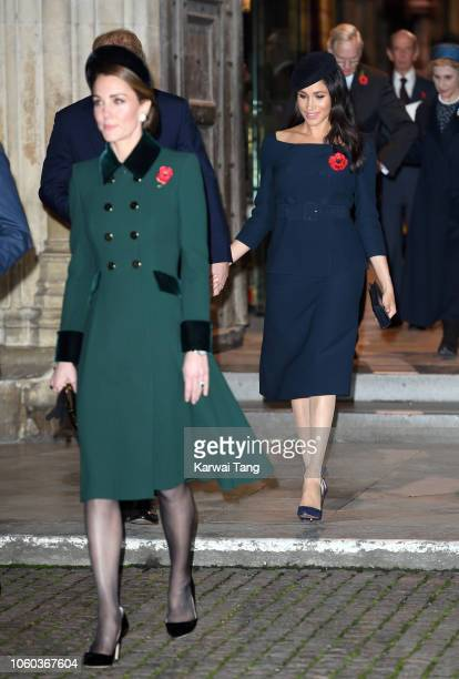Catherine Duchess of Cambridge and Meghan Duchess of Sussex attend the Centenary Of The Armistice Service at Westminster Abbey on November 11 2018 in...