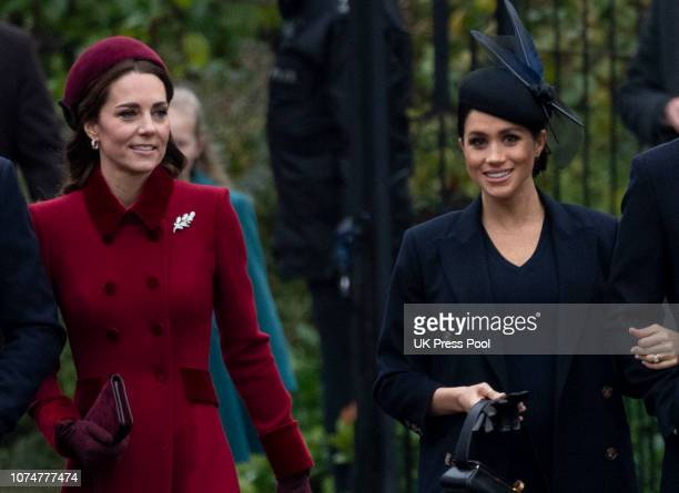 Catherine, Duchess of Cambridge and Meghan, Duchess of Sussex attend Christmas Day Church service at Church of St Mary Magdalene on the Sandringham...