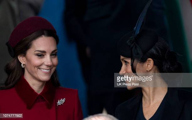 Catherine Duchess of Cambridge and Meghan Duchess of Sussex attend Christmas Day Church service at Church of St Mary Magdalene on the Sandringham...