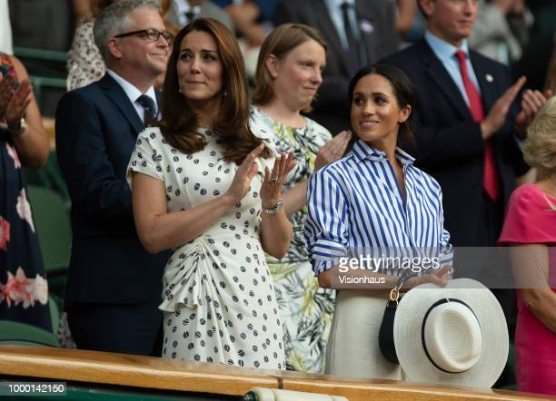LONDON ENGLAND JULY 14 Catherine Duchess of Cambridge and Meghan Duchess of Sussex attends day twelve of the Wimbledon Lawn Tennis Championships at...
