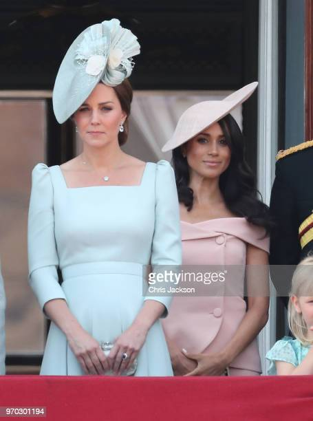 Catherine Duchess of Cambridge and Meghan Duchess of Sussex on the balcony of Buckingham Palace during Trooping The Colour on June 9 2018 in London...