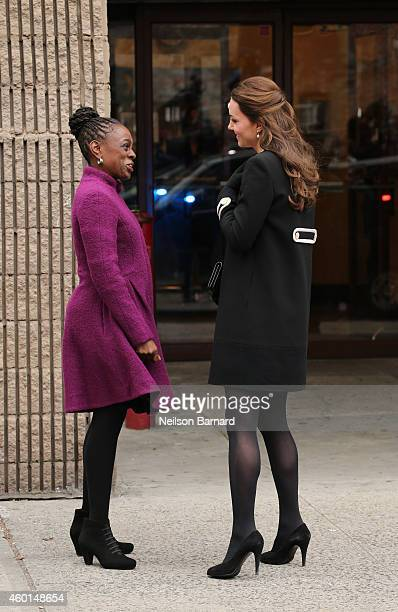 Catherine Duchess of Cambridge and New York City Mayor Bill de Blasio's wife Chirlane McCray arrive at Northside Center for Child Development on...
