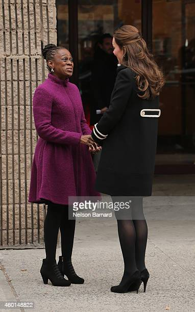 Catherine Duchess of Cambridge and New York City Mayor Bill de Blasio's wife Chirlane McCray meet at Northside Center for Child Development while on...