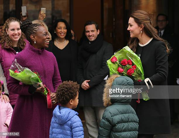 Catherine Duchess of Cambridge and New York City Mayor Bill de Blasio's wife Chirlane McCray greet guests at Northside Center for Child Development...
