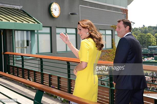 Catherine Duchess of Cambridge and Phillip Brook are seen during a visit to the Wimbledon Lawn Tennis Championships at the All England Lawn Tennis...
