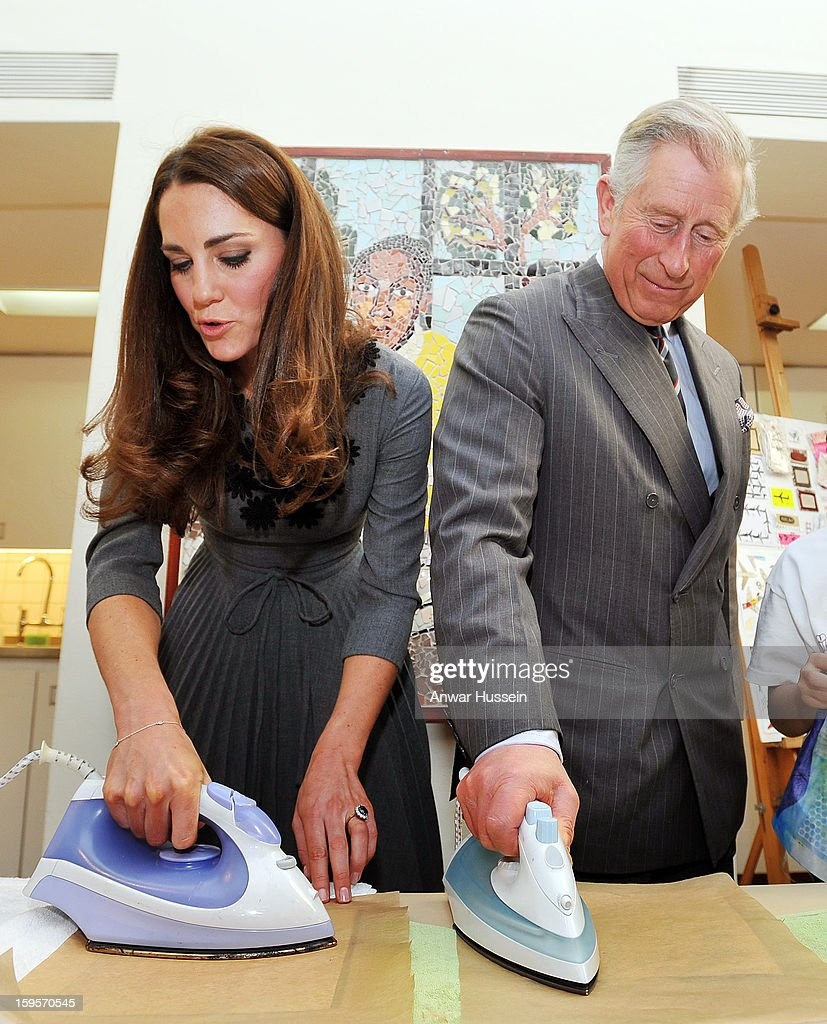 Catherine, Duchess of Cambridge and Prince Charles, Prince of Wales iron artwork onto silk during a visit to the Dulwich Picture Gallery on March 15, 2012 in London, England. The Duchess of Cambridge joined her parents-in-law Prince Charles, Prince of Wales and Camilla, Duchess of Cornwall on a royal visit to the gallery to celebrate their shared love of the arts and see work done by the Prince's Foundation for Children and the Arts.