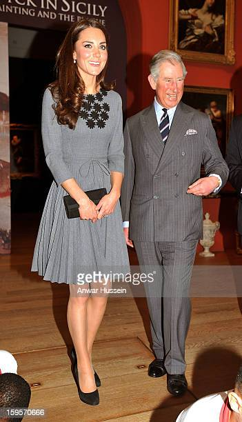 Catherine Duchess of Cambridge and Prince Charles Prince of Wales visit the Dulwich Picture Gallery on March 15 2012 in London England The Duchess of...