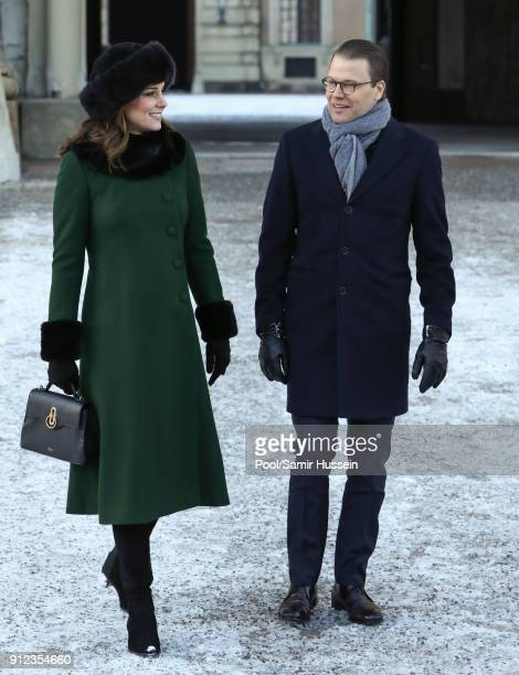 Catherine Duchess of Cambridge and Prince Daniel of Sweden walk through the cobbled streets of Stockholm from the Royal Palace to the Nobel Museum...