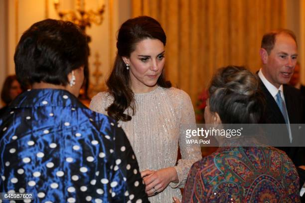 Catherine Duchess of Cambridge and Prince Edward Earl of Wessex greet guests at a reception this evening to mark the launch of the UKIndia Year of...