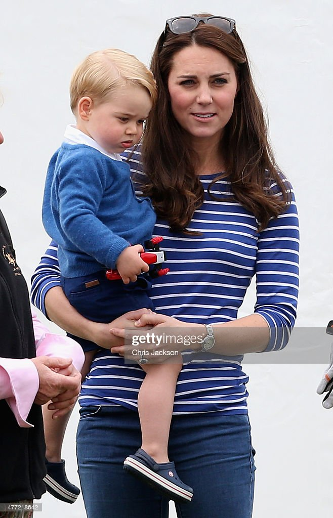 Catherine, Duchess of Cambridge and Prince George attend the Gigaset Charity Polo Match at Beaufort Polo Club on June 14, 2015 in Tetbury, England.