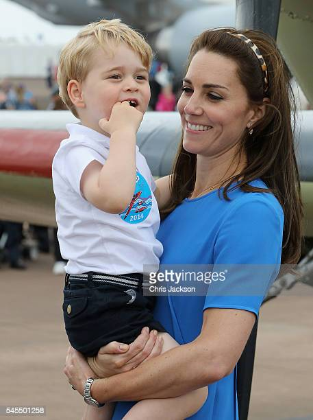 Catherine, Duchess of Cambridge and Prince George during a visit to the Royal International Air Tattoo at RAF Fairford on July 8, 2016 in Fairford,...