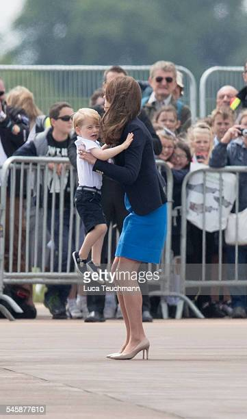 Catherine Duchess of Cambridge and Prince George during Visit The Royal International Air Tattoo at RAF Fairford on July 8 2016 in Fairford England