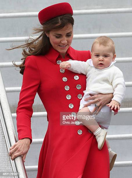 Catherine, Duchess of Cambridge and Prince George of Cambridge arrive at Wellington Military Terminal on an RNZAF 757 from Sydney on April 7, 2014 in...