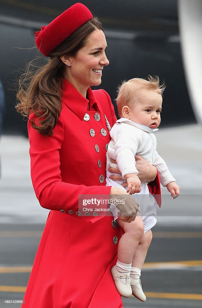 Catherine, Duchess of Cambridge and Prince George of Cambridge arrive at Wellington Military Terminal on an RNZAF 757 from Sydney on April 7, 2014 in Wellington, New Zealand. The Royal Family have arrived in New Zealand for the first day of a Royal Tour to New Zealand and Australia. Over a period of three weeks the Royal trio will visit 12 Cities in New Zealand and Australia taking part in activities as wide ranging as a yacht race in Auckland Harbour, paying their respects to victims of the 2011 earthquake in Christchurch and visiting Ayres Rock in Australia.