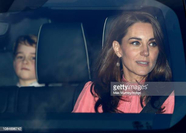 Catherine Duchess of Cambridge and Prince George of Cambridge attend a Christmas lunch for members of the Royal Family hosted by Queen Elizabeth II...
