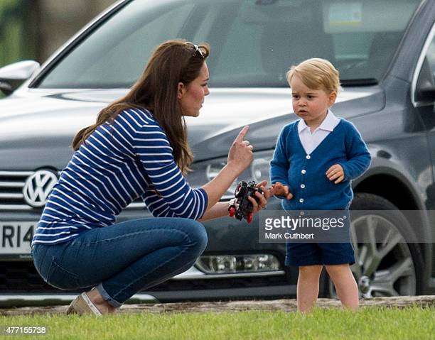 Catherine, Duchess of Cambridge and Prince George of Cambridge attend the Gigaset Charity Polo Match at Beaufort Polo Club on June 14, 2015 in...