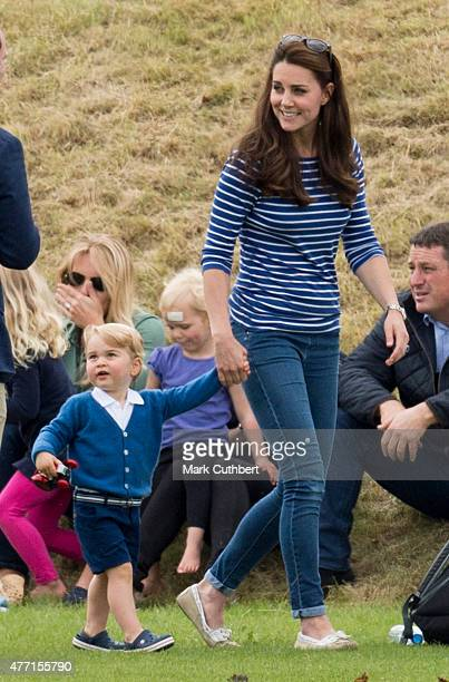 Catherine Duchess of Cambridge and Prince George of Cambridge attend the Gigaset Charity Polo Match at Beaufort Polo Club on June 14 2015 in Tetbury...