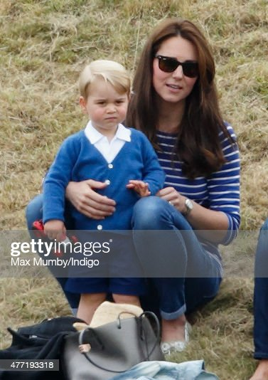 Catherine, Duchess of Cambridge and Prince George of Cambridge attend the Gigaset Charity Polo Match at the Beaufort Polo Club on June 14, 2015 in Tetbury, England.