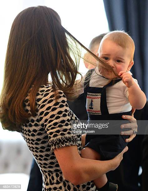 Catherine Duchess of Cambridge and Prince George of Cambridge attend a Plunket Play Group at Government House on April 9 2014 in Wellington New...