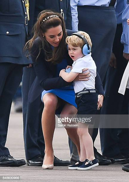 Catherine Duchess of Cambridge and Prince George of Cambridge attend the The Royal International Air Tattoo at RAF Fairford on July 8 2016 in...