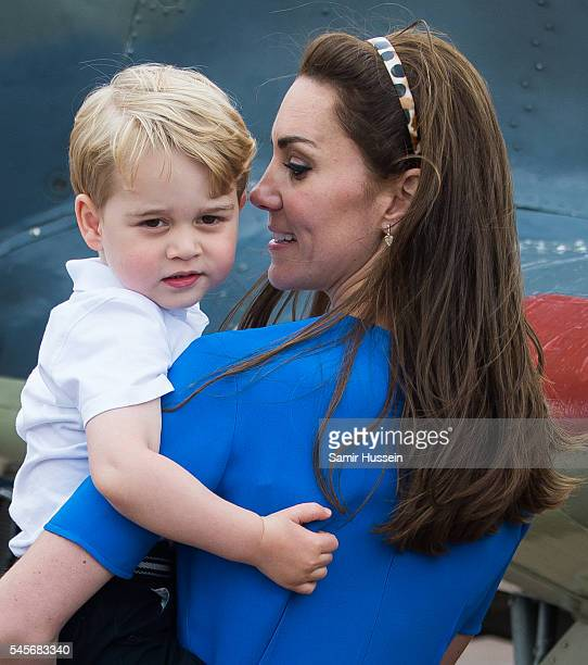 Catherine, Duchess of Cambridge and Prince George of Cambridge attend the The Royal International Air Tattoo at RAF Fairford on July 8, 2016 in...