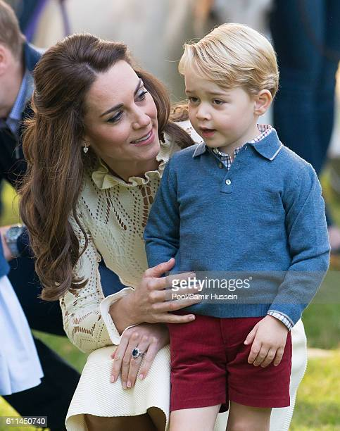 Catherine Duchess of Cambridge and Prince George of Cambridge attend a children's party for Military families during the Royal Tour of Canada on...
