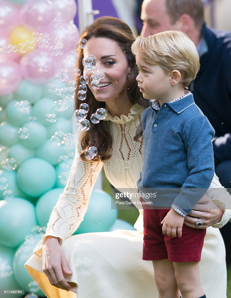 Catherine, Duchess of Cambridge and Prince George of Cambridge attend a children's party for Military families during the Royal Tour of Canada on September 29, 2016 in Victoria, Canada.