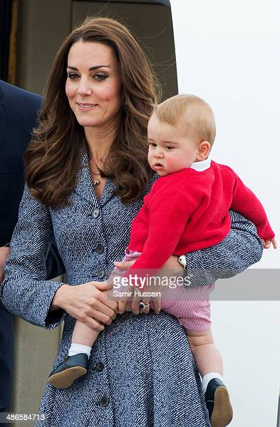 Catherine Duchess of Cambridge and Prince George of Cambridge depart Australia from Defence Establishment Fairbairn on April 25 2014 in Canberra...