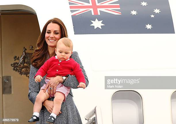 Catherine Duchess of Cambridge and Prince George of Cambridge leave Fairbairne Airbase as they head back to the UK after finishing their Royal Visit...