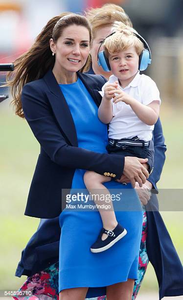 Catherine Duchess of Cambridge and Prince George of Cambridge visit the Royal International Air Tattoo at RAF Fairford on July 8 2016 in Fairford...