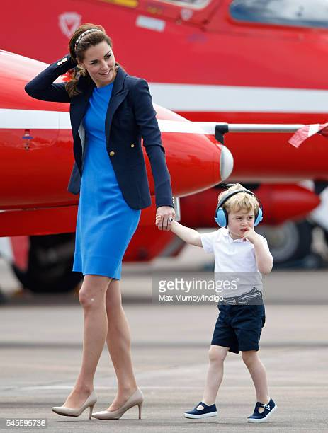 Catherine, Duchess of Cambridge and Prince George of Cambridge visit the Royal International Air Tattoo at RAF Fairford on July 8, 2016 in Fairford,...