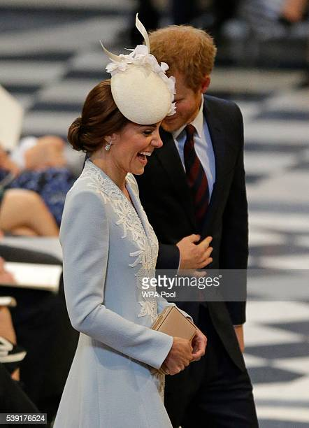 Catherine, Duchess of Cambridge and Prince Harry arrive for a service of thanksgiving for Queen Elizabeth II's 90th birthday at St Paul's cathedral...