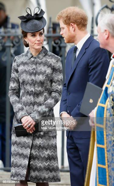 Catherine Duchess of Cambridge and Prince Harry attend a Service of Hope at Westminster Abbey on April 5 2017 in London England The multifaith...