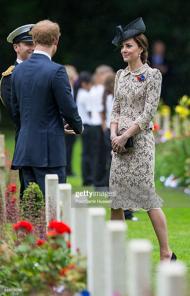Catherine, Duchess of Cambridge and Prince Harry attend the commemoration of the Battle of the Somme at the Commonwealth War Graves Commission Thiepval Memorial on July 1, 2016 in Thiepval, France.
