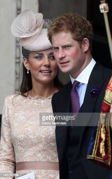 Catherine, Duchess of Cambridge and Prince Harry depart the Service of Thanksgiving at St Paul's Cathedral as part of the Diamond Jubilee, marking...