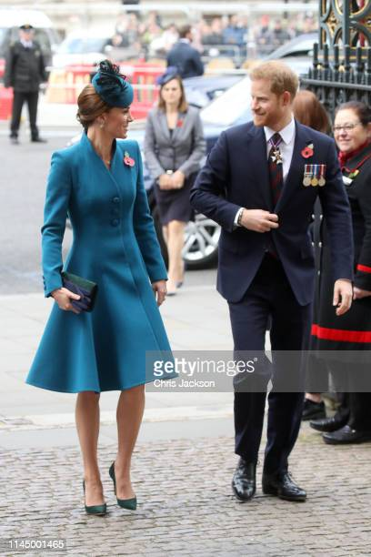 Catherine Duchess of Cambridge and Prince Harry Duke of Sussex attend the ANZAC Day Service of Commemoration and Thanksgiving at Westminster Abbey on...