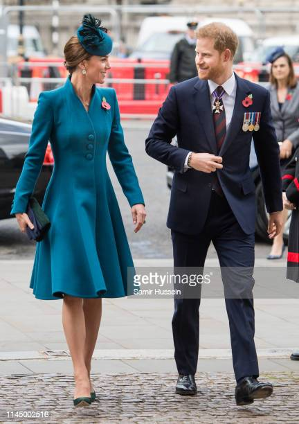 Catherine, Duchess of Cambridge and Prince Harry, Duke of Sussex attend the ANZAC Day Service of Commemoration and Thanksgiving at Westminster Abbey...