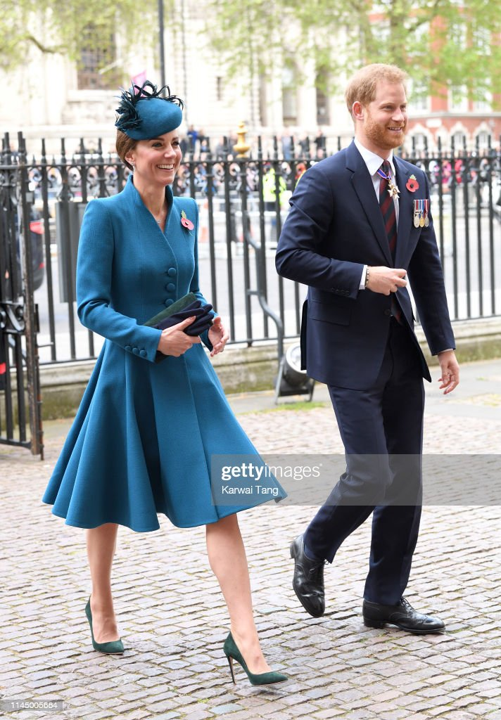 Duchess Of Cambridge and Duke of Sussex Attend ANZAC Day Service : News Photo