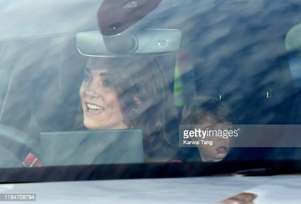 Catherine Duchess of Cambridge and Prince Louis attend Christmas Lunch at Buckingham Palace on December 18 2019 in London England