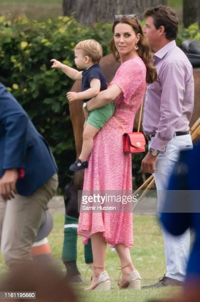Catherine, Duchess of Cambridge and Prince Louis attend The King Power Royal Charity Polo Day at Billingbear Polo Club on July 10, 2019 in Wokingham,...
