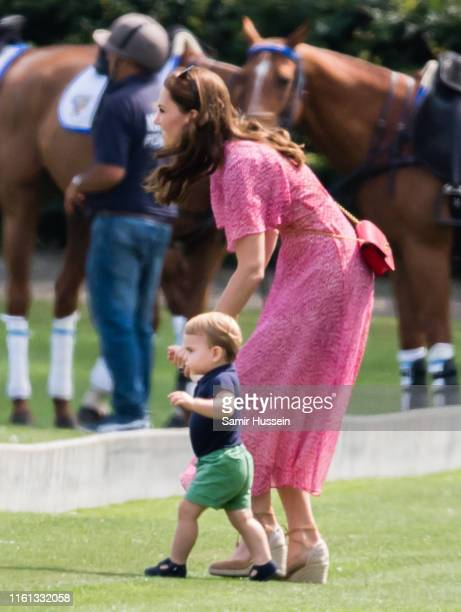 Catherine Duchess of Cambridge and Prince Louis attend The King Power Royal Charity Polo Day at Billingbear Polo Club on July 10 2019 in Wokingham...