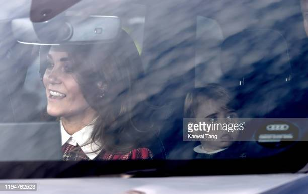 Catherine, Duchess of Cambridge and Prince Louis of Cambridge attend Christmas Lunch at Buckingham Palace on December 18, 2019 in London, England.