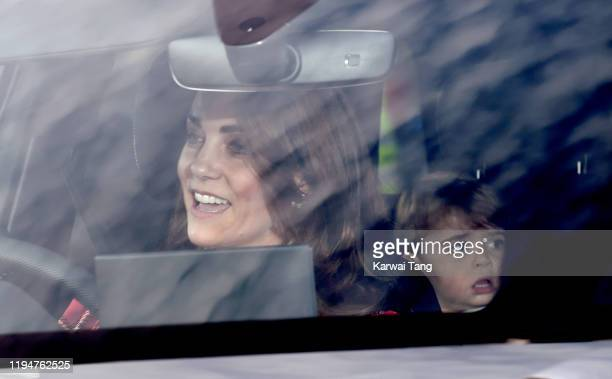 Catherine Duchess of Cambridge and Prince Louis of Cambridge attend Christmas Lunch at Buckingham Palace on December 18 2019 in London England