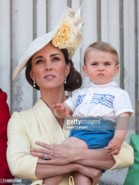 Catherine Duchess of Cambridge and Prince Louis of Cambridge during Trooping The Colour the Queen's annual birthday parade on June 8 2019 in London...