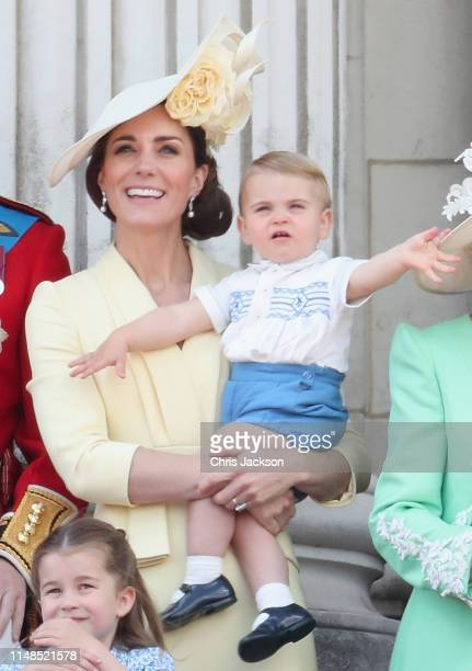 Catherine, Duchess of Cambridge and Prince Louis of Cambridge during Trooping The Colour, the Queen's annual birthday parade, on June 8, 2019 in...