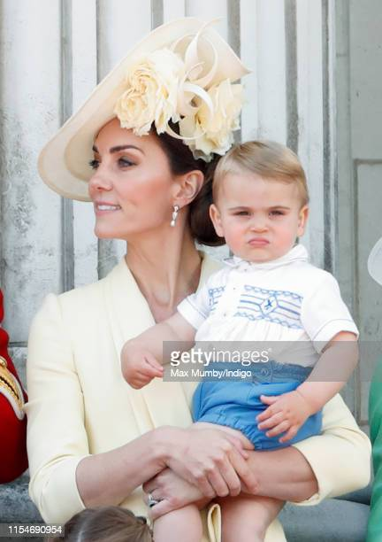 Catherine, Duchess of Cambridge and Prince Louis of Cambridge on the balcony of Buckingham Palace during Trooping The Colour, the Queen's annual...